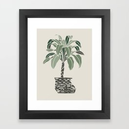 Minimal pot palm Framed Art Print
