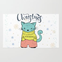 Cool Christmas Cat Merry Christmas Typography Rug