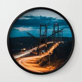 Blue Dusk Bridges Wall Clock