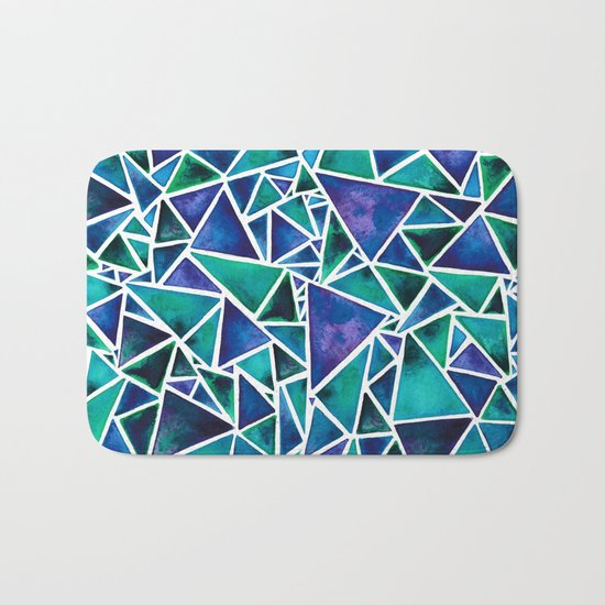 Geometric Turquoise and Blue Triangles Bath Mat