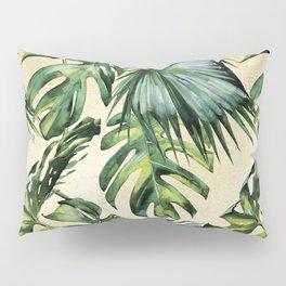 Palm Leaves Greenery Linen Pillow Sham