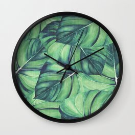 Palm Leaf Print Wall Clock