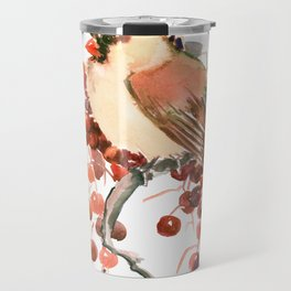 Cardinal and Berries Travel Mug