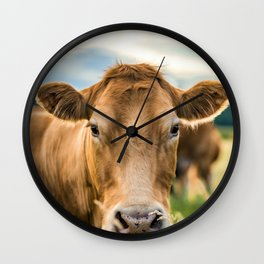 Summer in the Country with the Cows Wall Clock