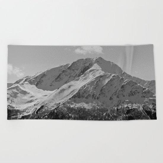 Snowy Alaskan Mountain Beach Towel