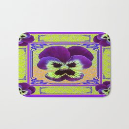 Pansy Purple-yellow Art Noveau Pattern Design Bath Mat