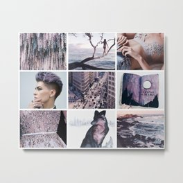 Purple and Grey Wolf Moodboard Metal Print
