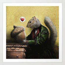Mr. Squirrel Loves His Acorn! Art Print