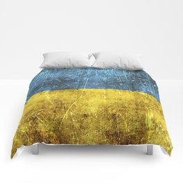 Vintage Aged and Scratched Ukrainian Flag Comforters