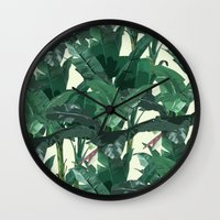 banana leaf Wall Clocks featuring Banana Leaf Pattern 2 by Tamsin Lucie