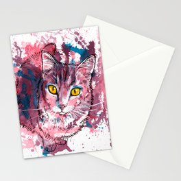 Cat Portrait, pink and purple shades, abstract acrylic painting Stationery Cards