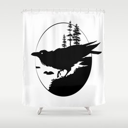 Raven Silhouette II Shower Curtain