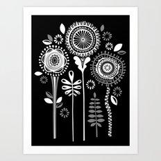 Folksy Flowerheads reverse Art Print