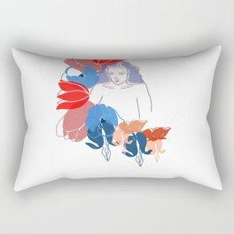 Woman In Flowers Rectangular Pillow