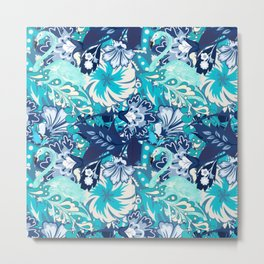 FLAMINGOS HIDDEN WITHIN PARADISE ABSTRACT SURFACE PATTERN  Metal Print
