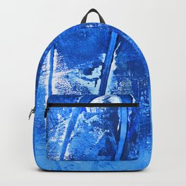 Aerial: a pretty, minimal abstract mixed-media piece in blues by Alyssa Hamilton Art Backpack