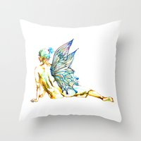 tinker bell Throw Pillows featuring Tinker Bell with one wing by Chien-Yu Peng