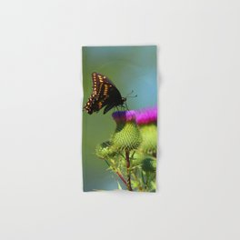 Swallowtail Butterfly on Canadian Thistle Hand & Bath Towel