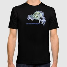 Billowing Blush in Blue Mens Fitted Tee Black MEDIUM