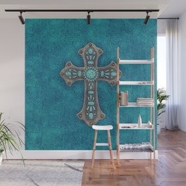 Turquoise Rustic Cross Wall Mural