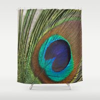 peacock feather Shower Curtains featuring Peacock Feather by aquenne