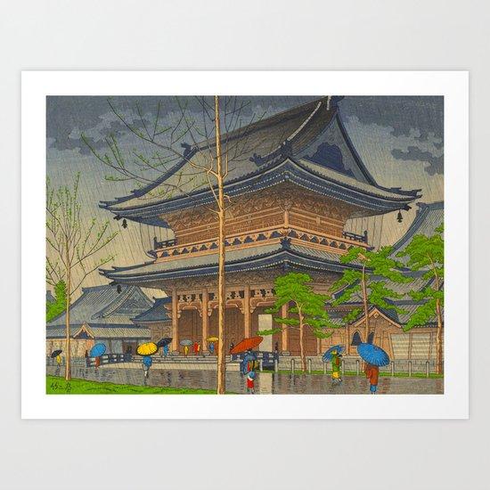 Rain in Higashi-Honganji Temple, Kyoto Asano Takeji Japanese Woodblock Print by enshape