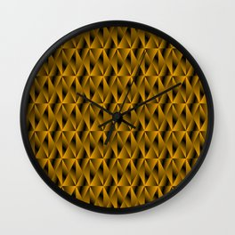 Mystical iridescent gold rhombs and black triangles with square volume. Wall Clock