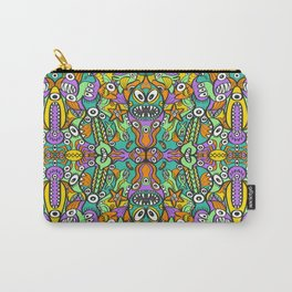 Tropical aquatic creatures in doodle art style forming a colorful pattern design Carry-All Pouch