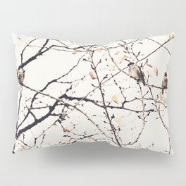 House Sparrows in Tree Branches Stylized Minimalist Nature Pillow Sham