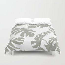 Simply Retro Gray Palm Leaves on White Duvet Cover