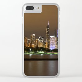 Beautiful river side city view in the night with colorful lights and tall buildings Clear iPhone Case