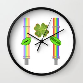 Purchase This St. Patrick's Four-leaf Clover Tee Saying Kiss Me T-shirt Design Irish Celebrate Party Wall Clock