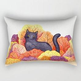 Autumn Forest Black Cat Rectangular Pillow