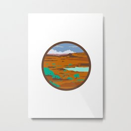 Desert Scene Circle Retro Metal Print