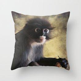 Spectacled Langur Throw Pillow