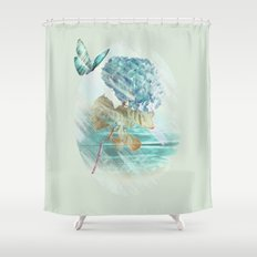 Hydrangea and butterfly Shower Curtain