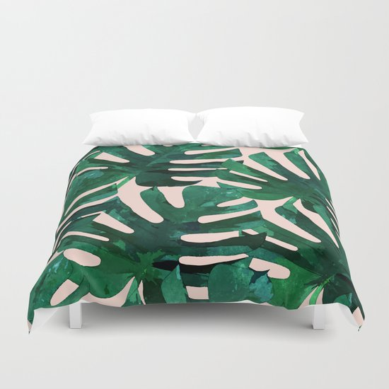 Monstera Pattern #society6 #decor #lifestyle Duvet Cover