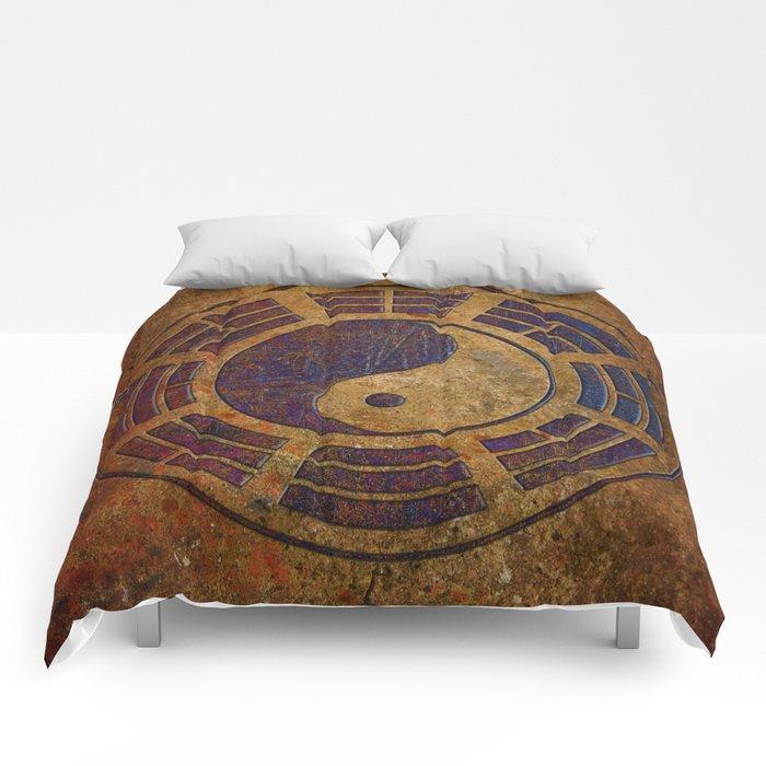 Purple Yin Yang Sign on Granite Comforters