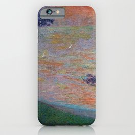 Colorful 'Sunset at Sea' nautical coastal landscape by Henri Jean Guillaume Martin iPhone Case