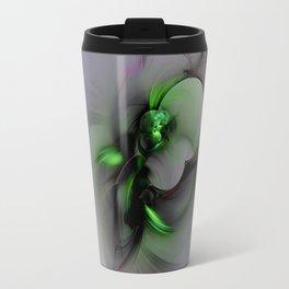 Abstract in Black and Green Travel Mug