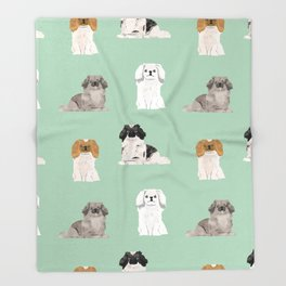 Pekingese dog breed gifts unique dogs pet friendly pet portraits Throw Blanket