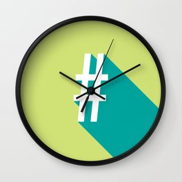 Vibrant Hashtag Wall Clock