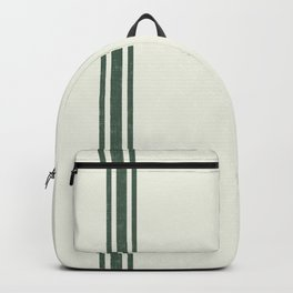 Vintage Country French Grainsack Green Stripes Creme Background Backpack