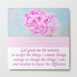 Serenity Prayer With Pink Peony Metal Print