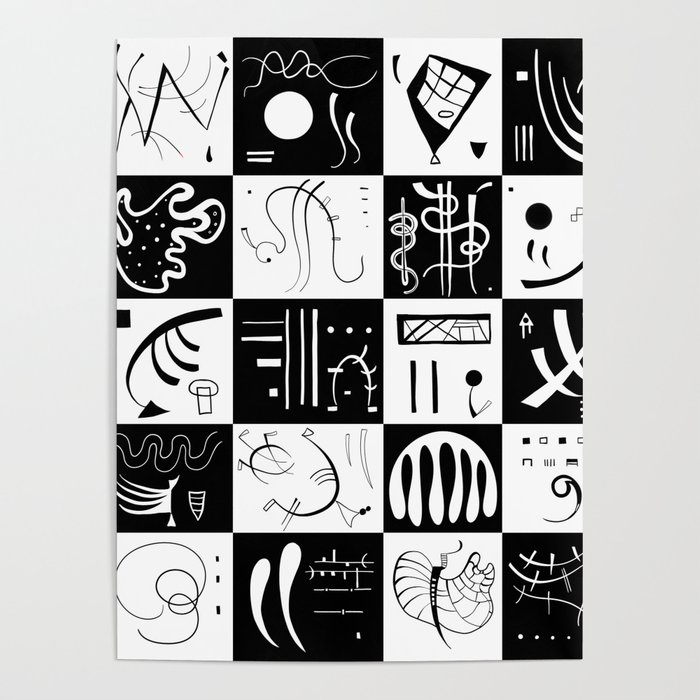 Kandinsky Black And White Pattern Abstract Art Poster By Shamila