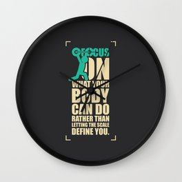 Lab No. 4 Focus On What Your Body Can Do Gym Motivational Quotes Poster Wall Clock