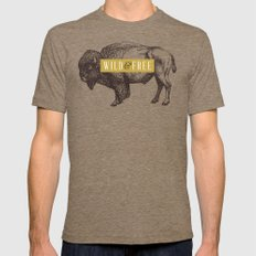 Wild & Free (Bison) Mens Fitted Tee LARGE Tri-Coffee