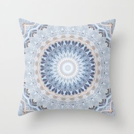 Serenity Mandala in Blue, Ivory and White on Textured Background Throw Pillow