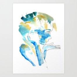 Blue & Yellow Silhouette Art Print