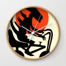 alien on a chopper Wall Clock
